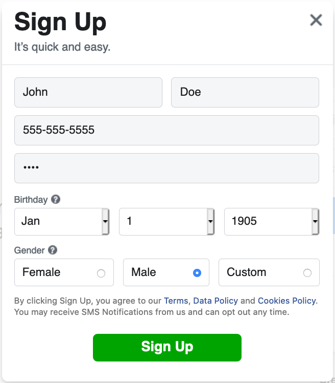 Facebook sign up window with fake information entered